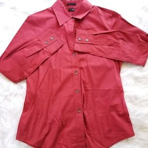 Theory Burgundy Button Down